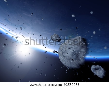 Asteroid swarm rushes to earth - stock photo