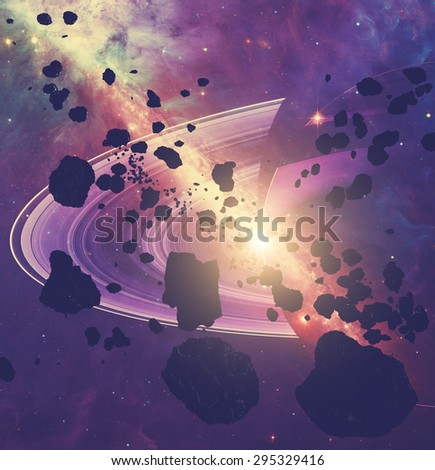 Asteroids and planets on a starry background. Digital illustration. Elements of this image furnished by NASA. - stock photo