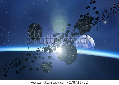 Asteroids and planets on a starry background. Digital illustration. Moon is my astrophotography work. No elements of NASA. - stock photo