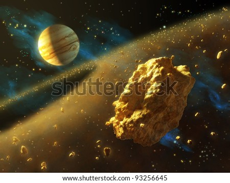 Asteroids belt in outer space, with Jupiter on background. Digital illustration. - stock photo