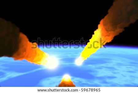 Asteroids falling on the planet - stock photo