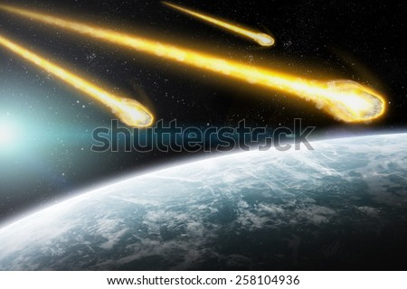 Asteroids flying close to the planet Earth 'Elements of the image furnished by NASA' - stock photo
