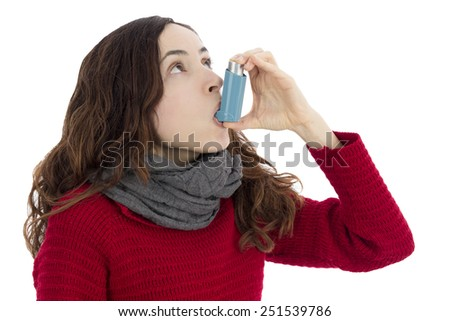 Asthma inhaler - stock photo