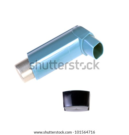 asthma inhaler isolated on white - stock photo