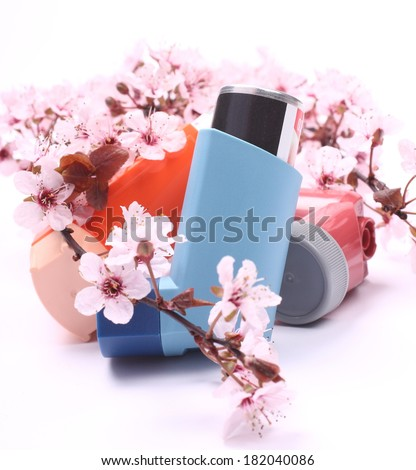 Asthma inhalers with blossoming tree branches over white - stock photo