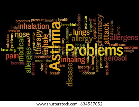 Asthma problems, word cloud concept on black background.