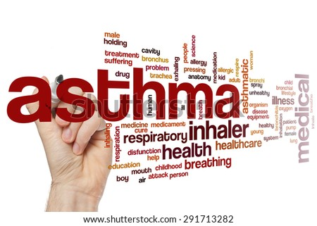 Asthma word cloud concept - stock photo