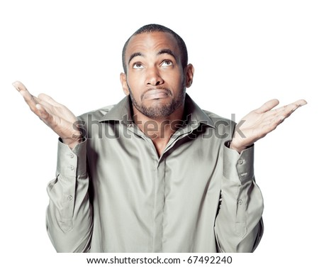 astonished balck man - stock photo
