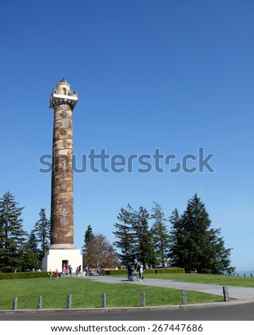Astoria, Oregon August 22, 2014 The Astoria Column in Astoria Oregon was built in 1926 by Vincent Astor, great grandson of John Jacob Aster to celebrate the city's history in the family's business. - stock photo