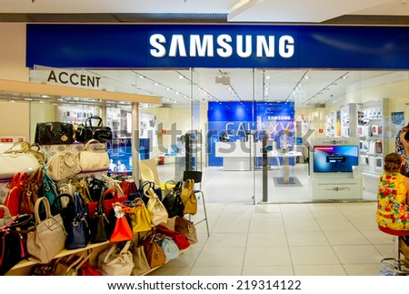 ASTRAKHAN, RUSSIA - AUG 16, 2014: Samsung shop at local mall.  Samsung is the most popular brand of mobile divices in Russia - stock photo