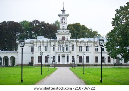 Astravas Manor in Astravas, Birzai, Lithuania. Astravas Manor is a manor in Birzai suburb Astravas, Lithuania. It was commissioned by Jan Tyszkewicz and was built in 1849 - 1862 in neoclassical style. - stock photo