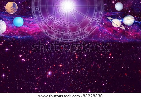 astrological chart with planets, cosmic background and copy space - stock photo
