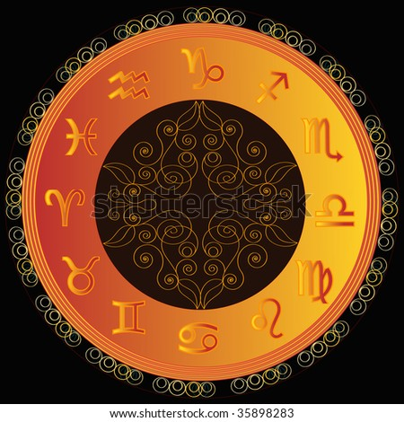 astrological symbol zodiac, yellow and black - stock photo