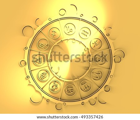 Astrological symbols in the circle. Golden emblem. Metallic material. 3d rendering