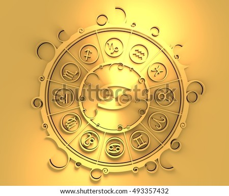 Astrological symbols in the circle. Golden emblem. Metallic material. 3d rendering. The crab sign