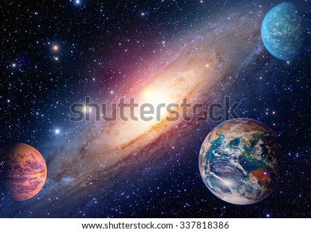 Astrology astronomy earth outer space solar system mars planet milky way galaxy. Elements of this image furnished by NASA. - stock photo