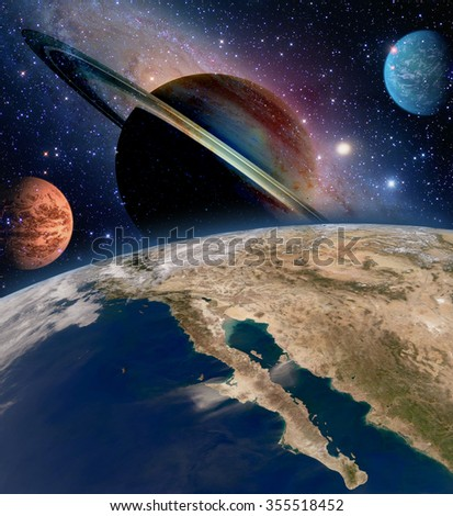 Astrology astronomy earth space solar system creation saturn planet milky way galaxy. Elements of this image furnished by NASA. - stock photo