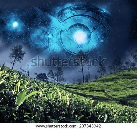 astrology zodiac on the night sky - stock photo