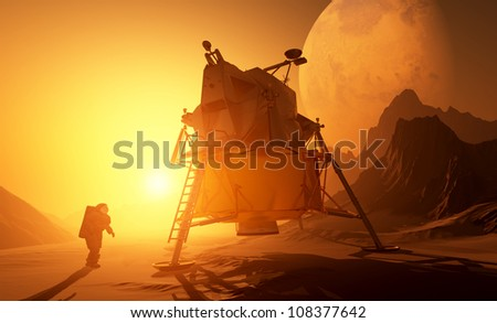 Astronaut and moonwalker on the planet. - stock photo