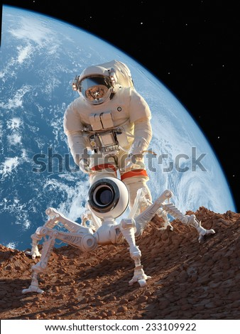 "Astronaut and robot on the planet""Elemen ts of this image furnished by NASA"""