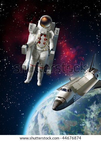 Astronaut and space shuttle exploring space near planet Earth. Digital illustration - stock photo
