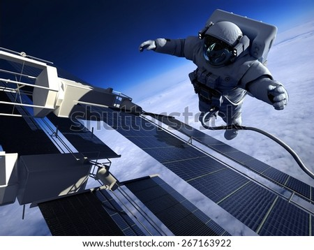 "Astronaut and space station in Earth lanshafty background. ""Elemen ts of this image furnished by NASA"" - stock photo"