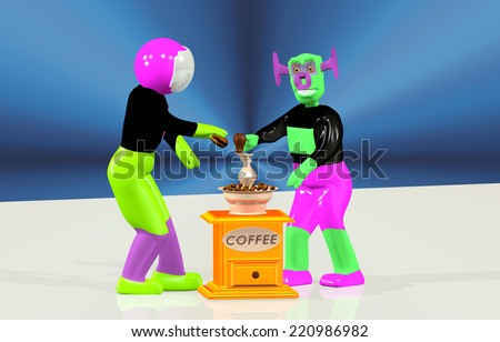 Astronaut and the alien make coffee - stock photo