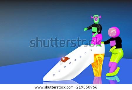 Astronaut and the alien with a white shoe - stock photo