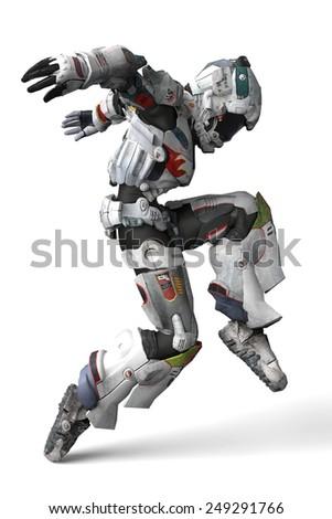 astronaut dance side view - stock photo