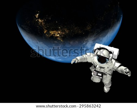 "Astronaut flying over the planet.""Elemen ts of this image furnished by NASA"" - stock photo"