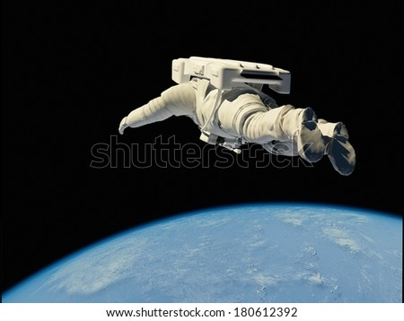 "Astronaut flying over the planet.""Elements of this image furnished by NASA"""