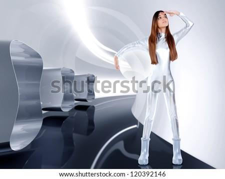 Astronaut futuristic silver woman glass helmet in modern spaceship indoor [photo-illustration] - stock photo