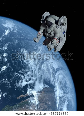 "Astronaut in outer space in the chair.""Elemen ts of this image furnished by NASA"" - stock photo"