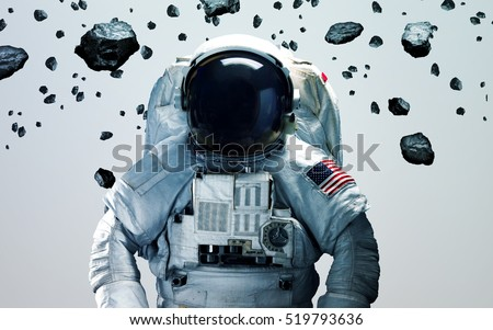 Astronaut in outer space modern minimalistic art. Elements of this image furnished by NASA