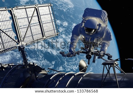 Astronaut in space around the solar battarei.