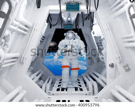 "Astronaut in the tunnels of the spacecraft.""Elemen ts of this image furnished by NASA"", 3d render - stock photo"