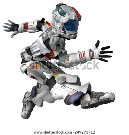 astronaut jump two - stock photo