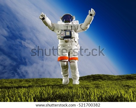 "Astronaut on the grass against the sky""Elemen ts of this image furnished by NASA"" , 3d render"
