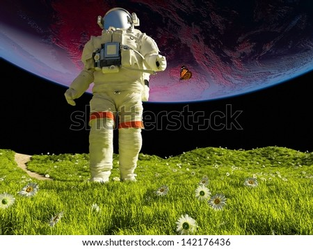 "astronaut on the green grass.""Elements of this image furnished by NASA"""