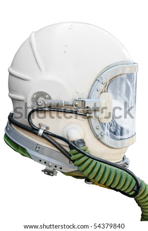 Astronaut/pilot helmet isolated on white. Clipping path included. - stock photo