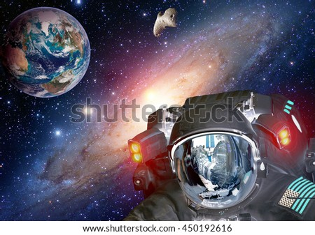 Astronaut planet Earth spaceman helmet space martian alien et extraterrestrial life. Elements of this image furnished by NASA. - stock photo