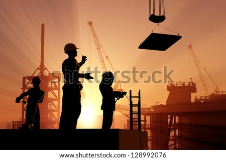 """Astronaut silhouette against the background of the planet.""""Elements of this image furnished by NASA"""" - stock photo"""