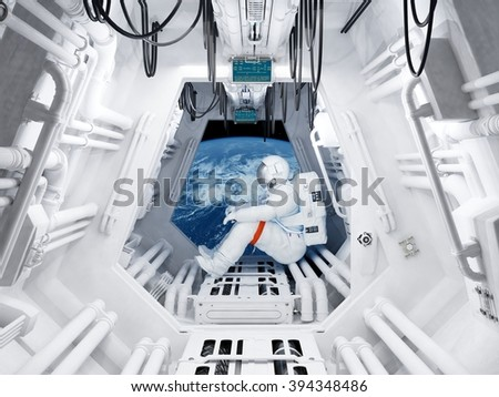 "Astronaut sitting inside .""Elemen ts of this image furnished by NASA"""