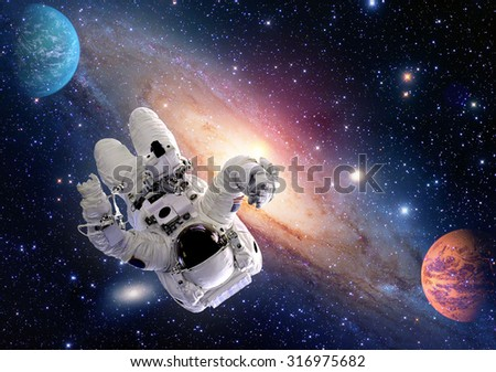 Astronaut spaceman outer space man relax people concept planet universe. Elements of this image furnished by NASA. - stock photo