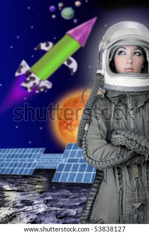 astronaut spaceship aircraft helmet fashion woman space planets rocket [Photo Illustration] - stock photo