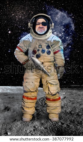 Astronaut with a gun standing on planet.Bad cosmonaut armed with a retro pistol. Conqueror of the universe.Pirate cosmonaut colonizer of planets.Military space Exploration.Starship Troopers soldier.  - stock photo