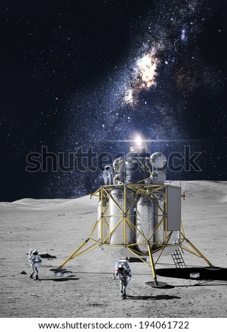Astronauts on the moon. Elements of this image furnished by NASA - stock photo
