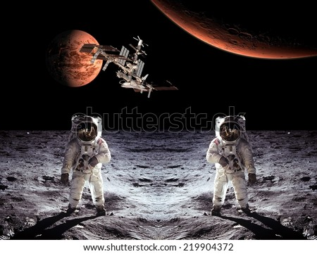 Astronauts spaceman Moon space spaceship planets. Elements of this image furnished by NASA.