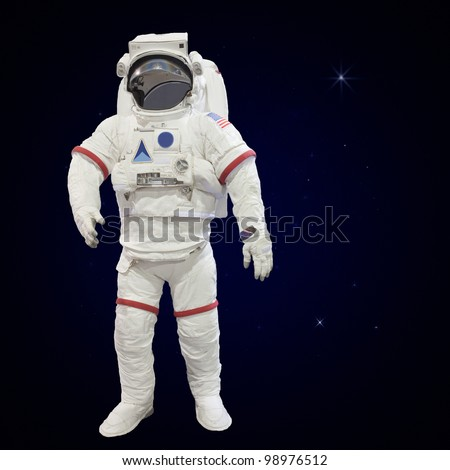 astronauts with atmosphere background - stock photo