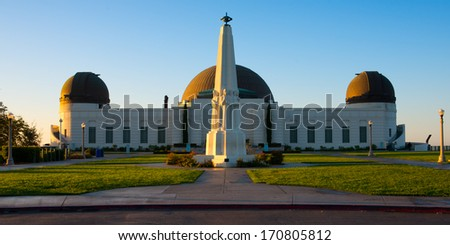 Astronomers Monument in front of Griffith Observatory in Griffith Park, Los Angeles, California, USA - stock photo